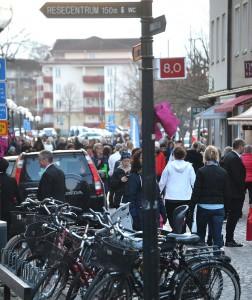 Många valde att ta cykeln till centrala Nybro.