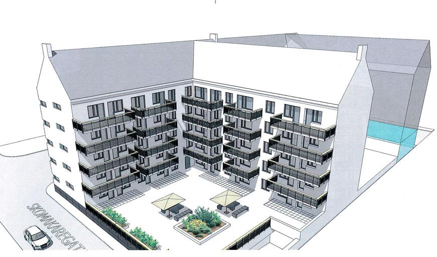 Ritning över etapp ett på Skomakaregatan 2. Lägenheterna kommer stå klara hösten 2017.