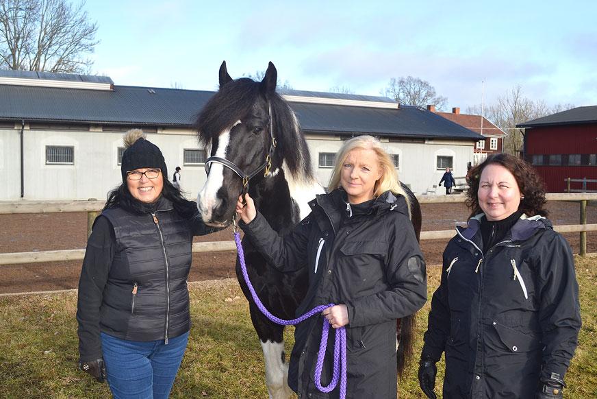 Ingrid Eriksson, ridlärare på Nybro ridklubb, och hästägarna Towe Danielsson och Eva Bynro, tillsammans med Sheridan som nyligen röstades fram till årets ridskolehäst.